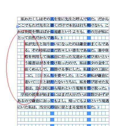 真ん中の段落だけ二字下げにします。 二字分を下げたインデントという意味です。