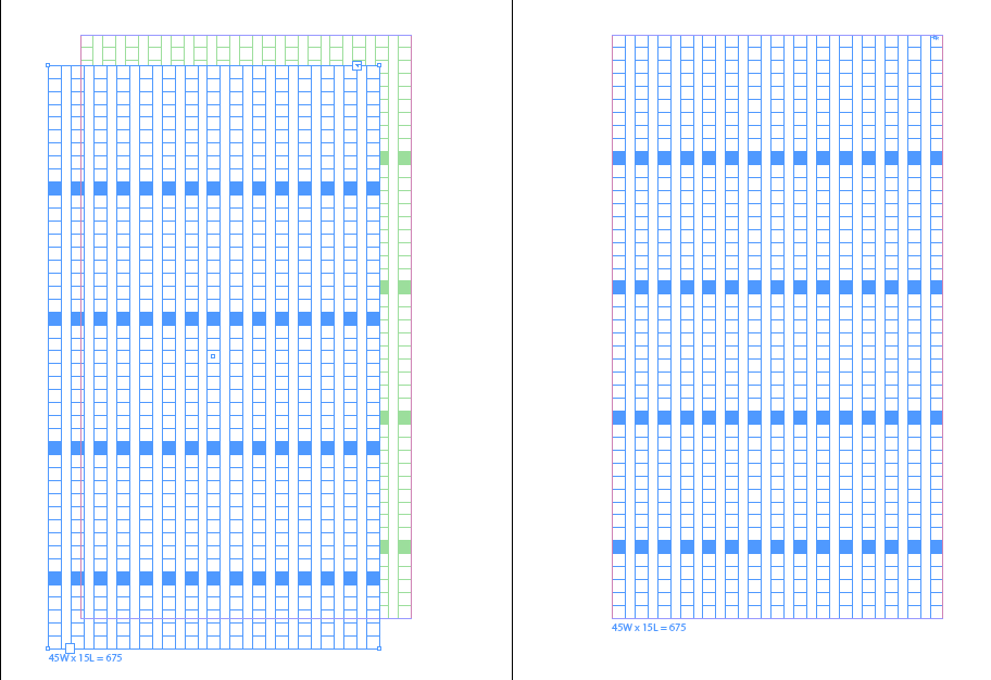青い線がテキストフレーム(文字が入るボックス)です。 緑の線は、単なるレイアウト用のあたり線です。